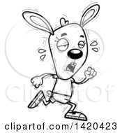 Clipart Of A Cartoon Black And White Lineart Doodled Exhausted Female Rabbit Running Royalty Free Vector Illustration