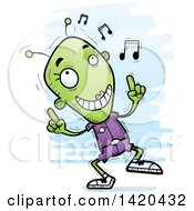 Clipart Of A Cartoon Doodled Female Alien Dancing To Music Royalty Free Vector Illustration by Cory Thoman