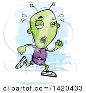 Clipart Of A Cartoon Doodled Exhausted Female Alien Running Royalty Free Vector Illustration by Cory Thoman