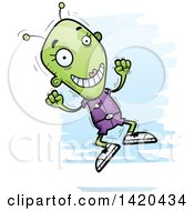 Clipart Of A Cartoon Doodled Happy Jumping Female Alien Royalty Free Vector Illustration