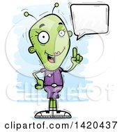 Clipart Of A Cartoon Doodled Female Alien Holding Up A Finger And Talking Royalty Free Vector Illustration by Cory Thoman