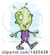 Clipart Of A Cartoon Doodled Female Alien Walking Royalty Free Vector Illustration by Cory Thoman