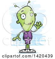 Clipart Of A Cartoon Doodled Friendly Female Alien Waving Royalty Free Vector Illustration