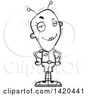 Clipart Of A Cartoon Black And White Lineart Doodled Confident Female Alien Royalty Free Vector Illustration by Cory Thoman