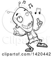 Clipart Of A Cartoon Black And White Lineart Doodled Female Alien Dancing To Music Royalty Free Vector Illustration by Cory Thoman