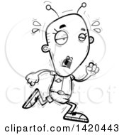 Clipart Of A Cartoon Black And White Lineart Doodled Exhausted Female Alien Running Royalty Free Vector Illustration by Cory Thoman