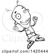 Clipart Of A Cartoon Black And White Lineart Doodled Happy Jumping Female Alien Royalty Free Vector Illustration