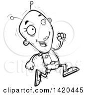 Clipart Of A Cartoon Black And White Lineart Doodled Female Alien Royalty Free Vector Illustration by Cory Thoman