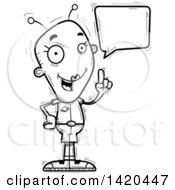 Clipart Of A Cartoon Black And White Lineart Doodled Female Alien Holding Up A Finger And Talking Royalty Free Vector Illustration by Cory Thoman