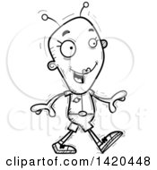Clipart Of A Cartoon Black And White Lineart Doodled Female Alien Walking Royalty Free Vector Illustration by Cory Thoman