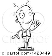 Clipart Of A Cartoon Black And White Lineart Doodled Friendly Female Alien Waving Royalty Free Vector Illustration by Cory Thoman