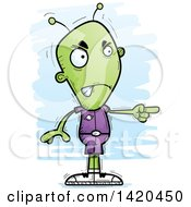 Clipart Of A Cartoon Doodled Mad Alien Pointing Royalty Free Vector Illustration