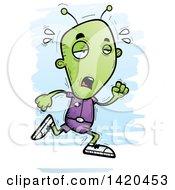 Clipart Of A Cartoon Doodled Tired Alien Running Royalty Free Vector Illustration