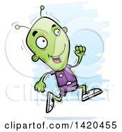Clipart Of A Cartoon Doodled Alien Running Royalty Free Vector Illustration