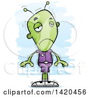 Clipart Of A Cartoon Doodled Pouting Sad Alien Royalty Free Vector Illustration