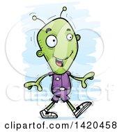 Clipart Of A Cartoon Doodled Alien Walking Royalty Free Vector Illustration