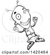 Clipart Of A Cartoon Black And White Lineart Doodled Excited Alien Jumping Royalty Free Vector Illustration