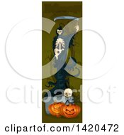 Clipart Of A Vertical Website Banner Of A Grim Reaper Over Halloween Pumpkins And A Skull Royalty Free Vector Illustration