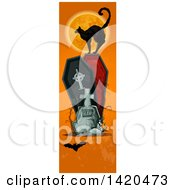 Clipart Of A Vertical Website Banner Of A Black Cat Against A Full Moon On A Coffin With A Tombstone And Bat On Orange Royalty Free Vector Illustration by Vector Tradition SM
