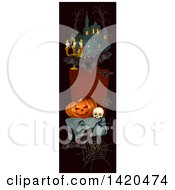 Clipart Of A Vertical Website Banner Of A Bat Haunted Castle Halloween Pumpkin And Skull Royalty Free Vector Illustration