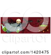 Clipart Of A Header Website Banner Of A Tombstone Cauldron Bats Skull And Potion Royalty Free Vector Illustration