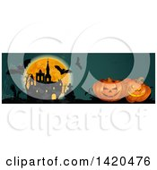 Clipart Of A Header Website Banner Of A Full Moon Bats Haunted Castle Tombstone And Halloween Pumpkins Royalty Free Vector Illustration by Vector Tradition SM