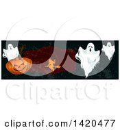 Clipart Of A Header Website Banner Of A Witch Ghosts And Pumpkins Royalty Free Vector Illustration by Vector Tradition SM
