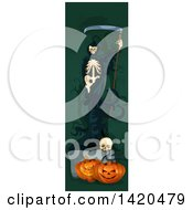 Clipart Of A Vertical Website Banner Of A Grim Reaper Over Halloween Pumpkins And A Skull Royalty Free Vector Illustration by Vector Tradition SM