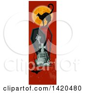 Clipart Of A Vertical Website Banner Of A Black Cat Against A Full Moon On A Coffin With A Tombstone And Bat On Red Royalty Free Vector Illustration by Vector Tradition SM