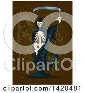 Clipart Of A Skeletal Grim Reaper On Brown Royalty Free Vector Illustration by Vector Tradition SM