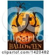Clipart Of A Jackolantern Pumpkin Dead Trees Full Moon Halloween Text And Tombstone Royalty Free Vector Illustration
