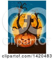 Clipart Of A Halloween Jackolantern Pumpkin Dead Trees Full Moon And Tombstone Royalty Free Vector Illustration by Vector Tradition SM