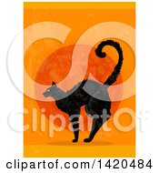Clipart Of A Scared Black Cat Against A Full Moon On Orange Royalty Free Vector Illustration by Vector Tradition SM
