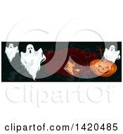 Clipart Of A Header Website Banner Of A Witch Ghosts And Halloween Pumpkin Royalty Free Vector Illustration by Vector Tradition SM