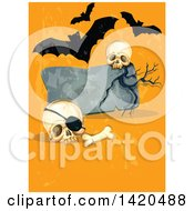 Clipart Of A Tombstone With Skulls And Vampire Bats On Orange Royalty Free Vector Illustration