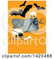 Poster, Art Print Of Tombstone With Skulls And Vampire Bats On Orange