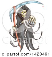 Clipart Of A Sketched Grim Reaper Royalty Free Vector Illustration by Vector Tradition SM