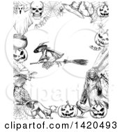 Clipart Of A Sketched Black And White Flying Witch In A Border Royalty Free Vector Illustration
