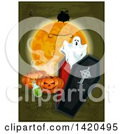 Clipart Of A Spooky Ghost Coffin Full Moon Cauldron Pumpkins Webs And Potion Royalty Free Vector Illustration by Vector Tradition SM