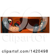 Clipart Of A Header Website Banner Of A Grim Reaper Halloween Pumpkin And Coffins Royalty Free Vector Illustration by Vector Tradition SM