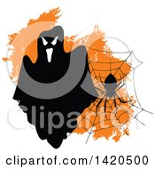 Clipart Of A Spooky Ghost Spider And Web Over Orange Royalty Free Vector Illustration by Vector Tradition SM
