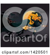 Clipart Of A Witch Flying Against A Full Moon Royalty Free Vector Illustration