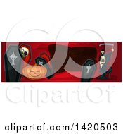 Clipart Of A Header Website Banner With A Halloween Jackolantern Pumpkin Coffins And Grim Reaper Royalty Free Vector Illustration