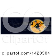 Clipart Of A Header Website Banner Of A Witch And Bats Over A Full Moon Royalty Free Vector Illustration