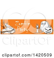 Clipart Of A Header Website Banner Of A Sketched Halloween Pumpkin Rising Zombie Crow And Coffin On Orange Royalty Free Vector Illustration
