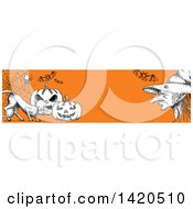Clipart Of A Header Website Banner Of A Sketched Cat With Halloween Pumpkins Bats A Spider And Witch On Orange Royalty Free Vector Illustration by Vector Tradition SM