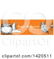 Header Website Banner Of A Sketched Owl Spider Witch Hat And Cauldron On Orange
