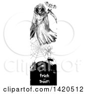 Clipart Of A Vertical Website Banner Of A Sketched Bat Grim Reaper And Spider Web Over Text Royalty Free Vector Illustration by Seamartini Graphics