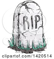 Clipart Of A Sketched RIP Tombstone Royalty Free Vector Illustration