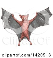 Clipart Of A Sketched And Color Filled Flying Bat Royalty Free Vector Illustration